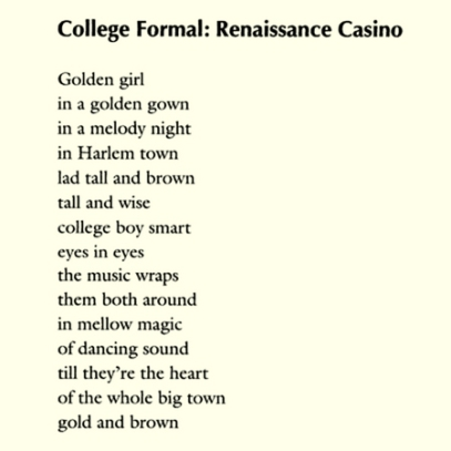 The romance of the Renaissance Ballroom and Casino is remembered in a 1949 poem by Langston Hughes. Courtesy, citylimits.org