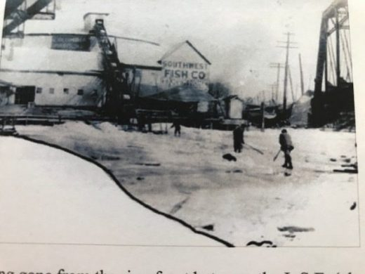 Workers cutting blocks of ice out of the Vermilion River for storage and use at the Southwest Fish Co. in Vermilion. Harvesting ice was a wintertime ritual for the local fish houses in the early 20th century. Courtesy, Ritter Public Library, Vermilion, OH. The original print comes from Rich Tarrant's splendid website Vermilion Views, which features historical photographs many of which originally appeared in the town's newspaper, The Vermilion News.