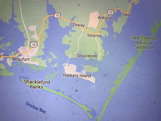 Today Straits is a rural community just north of the Harkers Island Bridge (seen in the center of this map). Until the early 1900s, local people also considered Straits to stretch well to the east along the shore, but much of that area is now considered the village of Gloucester. From Google Maps
