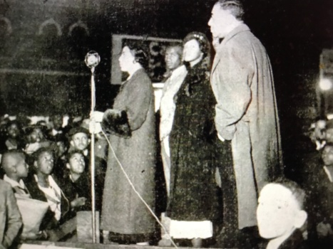 Gough McDaniels (foreground) and other NAACP activists at a street corner membership rally in Baltimore, 1935. From The Crisis (Dec. 1935)