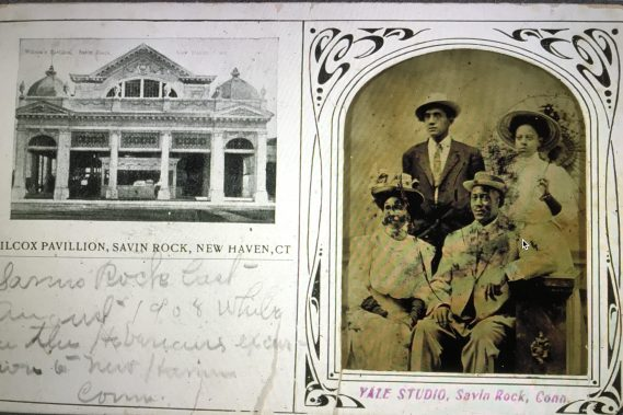 """Postcard from a """"Mr. and Mrs. Marshall Brown and friends"""" at Savin Rock, 1908. African Americans in Connecticut and New York had vacation at Savin Rock since at least the late 1800s. Courtesy, Connecticut Historical Society"""