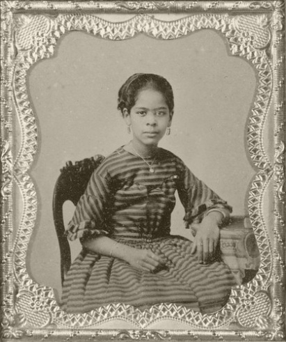A portrait of a very young Maritcha Remond Lyons, ca. 1860, perhaps just before she began teaching at NYC's Colored School No. 1. Before the Civil War, her parents ran a seamen's home in New York City that was known as a stop on the Underground Railroad. The family's home was repeatedly targeted by white mobs during the New York City Draft Riots in 1863. Courtesy, Harry A. Williamson Photograph Collection, New York Public Library