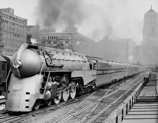 A new, streamlined version of the 20th Century Limited leaving Chicago in June 1938. The Limited was an express passenger train that ran from New York City to Chicago and back between 1902 and 1967. Courtesy, Associated Press