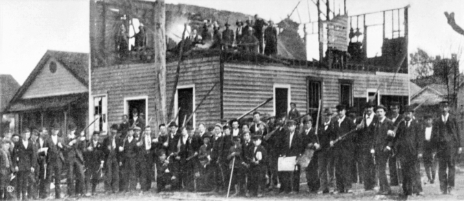 The white insurrections celebrating the burning of the Wilmington Record's office and printing press, November 1898. Courtesy, Library of Congress