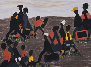 Panel from Jacob Lawrence's series The Migration of the Negro, 1940-41. Courtesy, Museum of Modern Art
