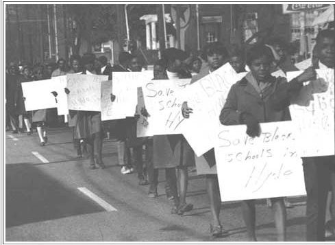 A civil rights march in Swan Quarter, N.C., fall of 1968. Courtesy, North Carolina Museum of History