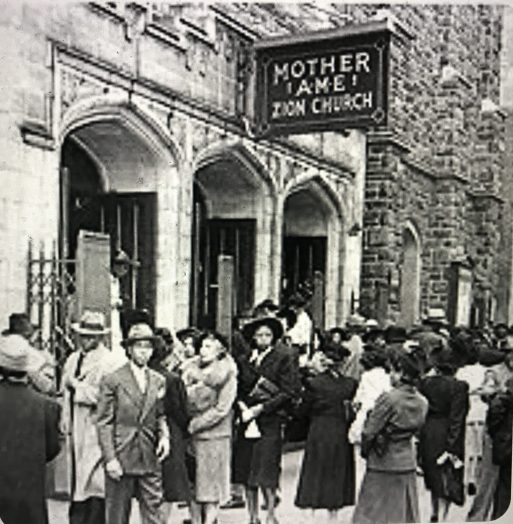 Sunday worshipers at Mother AME Zion Church in New York City, ca. 1940s. Courtesy, Terrance Adkins on Pinterest